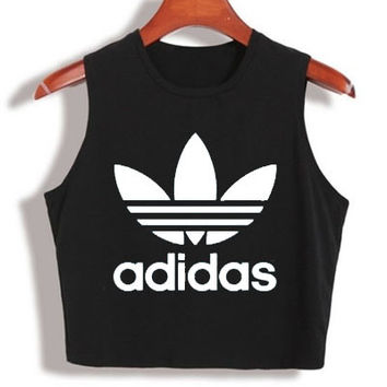 """Adidas"" Fashion Sexy Casual Classic Clover Letter Print Round Neck Sleeveless Vest T-shirt Crop Top"