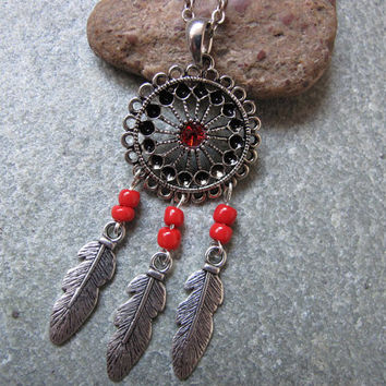 Antique Silver Dream Catcher Necklace , Feather Necklace,Red Beads Necklace ,Native American Jewelry