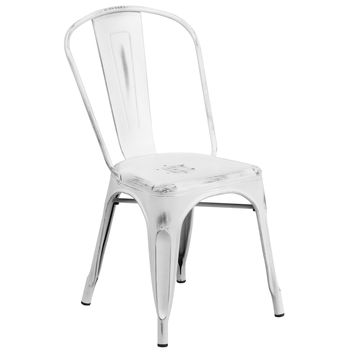 Flash Furniture Distressed White Metal Chair [ET-3534-WH-GG]
