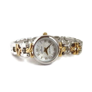 Vintage Anne Klein Watch, Two Tone Women's Wrist Watch, Gold Tone Silver Tone Roman Numerals Watch