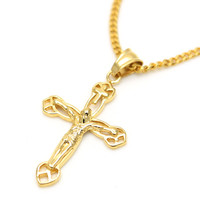 60cm 18K Gold Jesus Christ Cross Pendents Long Necklace For Men And Women Hip Hop Christian Jewelry