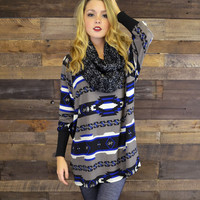 Tiger Tailgate Royal Blue Aztec Dolman Top