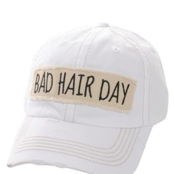 White Bad Hair Day Distressed Vintage Cap