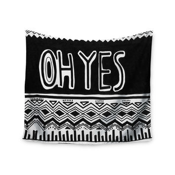 "Vasare Nar ""Oh Yes"" Black White Wall Tapestry"