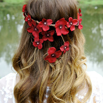 Bridal Flower Crown, Red Hydrangea Wedding hair accessory, waterfall, cascading headband, bride, winter, fall, woodland fairy crown,