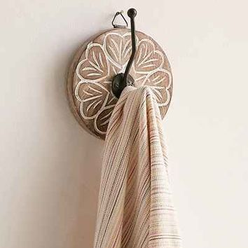 Wooden Round Hand Painted Wall Hook - Urban Outfitters