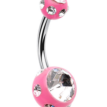 Aurora Glass-Gem Ball Acrylic Belly Button Ring