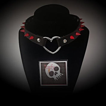 Genuine Leather Spiked Heart Choker - Red Spikes Punk