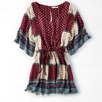 AEO PATCHWORK FLOWY DRESS