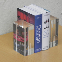 Modern Lucite Acrylic Block Bookends