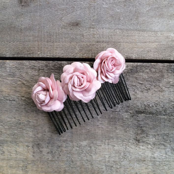 Bridal Hair Comb, Pink Roses Comb, Wedding Hair Accessory, Decorative Hair Comb, Wedding Flower Haircomb, Bridal Headpiece, ReddApple