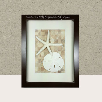 Beach Decor. Brown and Neutral Color Seashell Wall Art for your Coastal Theme Home. One of a Kind Art Handmade Beach Art