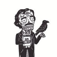 Day of the Dead Edgar Allan Poe Calavera Limited Edition Gocco Screenprint
