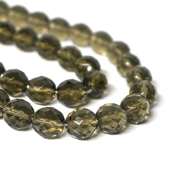 12mm faceted Czech Glass Beads, Smoke Grey, Full strand (1084G)
