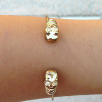 Skull Cuff (gold) - DulceCandyXO - Trendy and Affordable Style