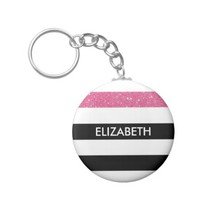 Modern Black White Stripes Pink Glitter and Name Basic Round Button Keychain
