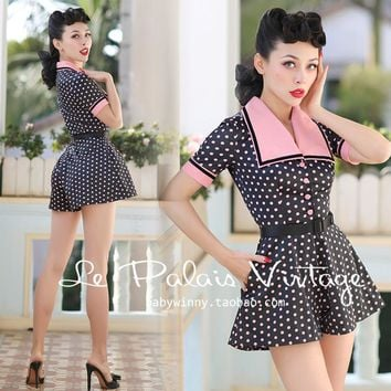 FREE SHIPPING Le Palais Vintage 2016 Summer New PIN UP Pink Dot Black High Waist Short Sleeve Slim Palysuits Women Clothing