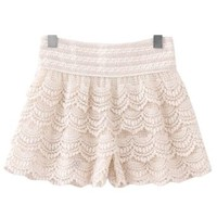 Ninimour- Women's Crochet Tiered Lace Layers Under Safety Short Pant (M, Beige)