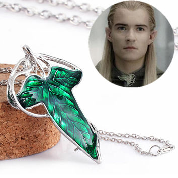 The Elf Princess Lord of the Ringgs Green Elven Leaf Pin Pendant Necklaces For Men Women Movie Jewelry——Christmas Gift