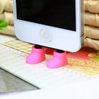 ZOEAST Creative 2 in 1 Cute 8 Colors Shoes iPhone Stand Data Port Dust Plug Smart Phone Shoes Dust Stopper Dustproof Charm iPhone 4 4S 5 5C 5S Samsung Shoe Phone Stand (iPhone 4/4S, Blue)