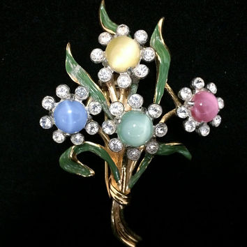 Art Deco Rhinestone Flower Fur Clip Enamel Pin Floral Bouquet Brooch Crystal Rhinestone Vintage Dress Clip Multi Color Glass Cabochon 318