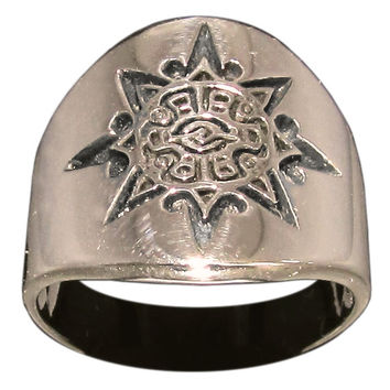 Mayan Sun Symbol Tribal Ring in Bronze Inca Aztec