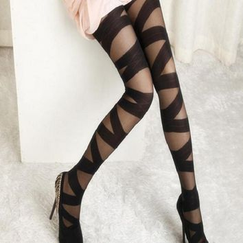 1PC Women Sexy Ripped Cut-out Bandage Stockings Ultra-thin Tights Elastic Slim Pantyhose Lady Sexy Seamless Black Stockings