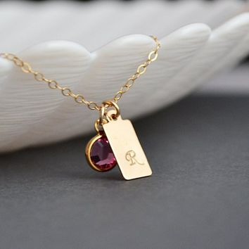 Gold Tag Necklace, Personalized Tag Necklace with Swarovski Crystal Bitrhstone, Initial Bar Tag Necklace