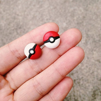 SALE!! - Pokemon Earrings Pokeball Party Game Boy Nes Nintendo Red/White Handmade Polymer Clay 3D Geek Gamer Gift her Woman Couple Bff Cu...
