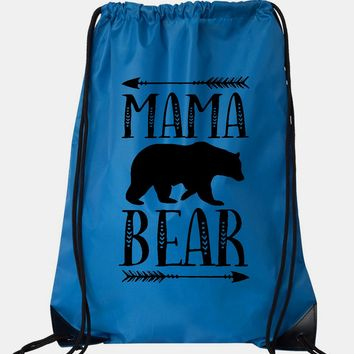 "Drawstring Gym Bag  ""Mama Bear""  Funny Workout Squatting Gift"
