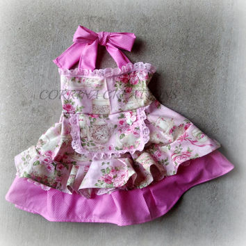 Vintage Tea Party Pink Themed Boutique Style Ruffle Apron Dress size NB 3 6 9 12 24 months, size 2 3 4 5 6