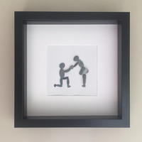 Pebble Art - Pebble Picture - The Pebble Art - Love Home Decor - Wedding Decor - Heart - Will you marry me?