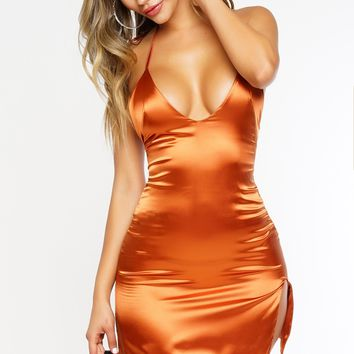 Tanya Slip Dress - Rust