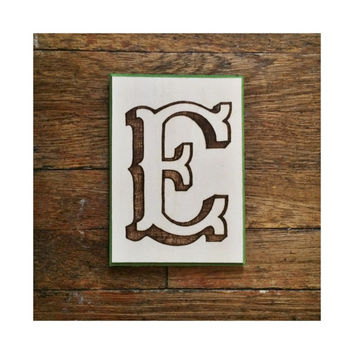 Decorative Wall Letter E Plaque, Woodburning with Painted Border, Custom Wall Letter Monogram Initial Art, Choose Any Letter