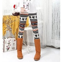 Womens Lined Snow Flake Reindeer Christmas Leggings Tights