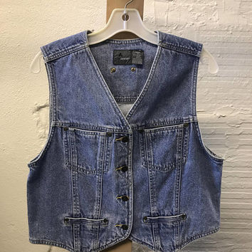 Jean Denim vest Vintage 1990s Cotton Blue Liz Wear Petite Small