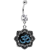 Clear Gem Lotus Blue Ohm Belly Ring Created with Swarovski Crystals