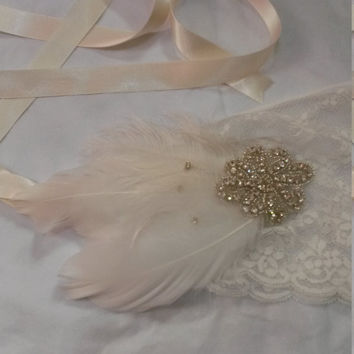 Roaring 20s, summer wedding, gypsy, pirate, feather, gatsby party, ladies headband, headpiece
