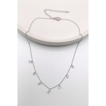 925 Sterling Silver Crystal Dangling Choker Necklace (105-0700)