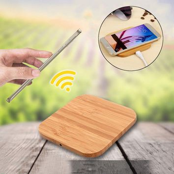 Portable Square Wood Bamboo Qi Wireless Charger Charging Pad Mat For iPhone 8 Plus X Samsung Galaxy S6/S6 Edge For Nexus 4 5 6