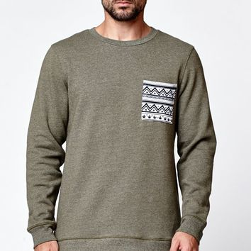 On The Byas Regent Chest Pocket Crew Fleece - Mens Hoodies - Green