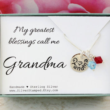 Gift for grandma gift sterling silver necklace with Swarovski birthstones - My greatest blessings call me Grandma charm hand stamped jewelry
