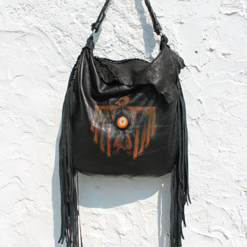 Fringed leather tribal black tote hobo eagle aztec navajo navaho southwestern raw edge bag western native indians agate slice boho festival