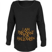 Pregnant for Halloween Black Maternity Soft Long Sleeve T-Shirt