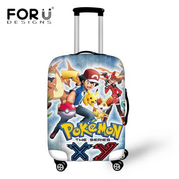FORUDESIGNS Anime Pokemon Luggage Protective Covers Thick Elastic Trunk Case for 18 22 24 26 28 30 Inch Case Waterproof Suitcase