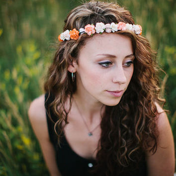 Peach  Flower Crown, rustic wedding, Bohemian, bridesmaids, peonies, Woodland, autumn,  peach, orange wedding, fall wedding - SUNSET