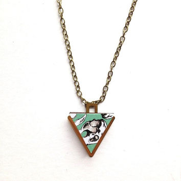 Triangle Geometric Necklace - Skull Patterned Laser Cut Wood Geometric Jewellery Triangle Jewellery