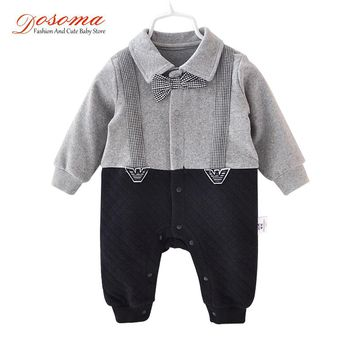 DOSOMA Baby Boy Rompers 2018 Gentleman Style Cotton New Born Baby Clothes Boy One Piece Outfit Baby Boy Jumpsuit Infant Romper
