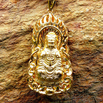 Gold Necklace, Buddha Pendant,  Kanji Necklace, Buddhist Protection Pendant, Good Luck Charm, Chinese Characters, Chinese Protection Symbols