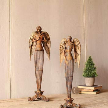 Set of 2 Rustic/Metal Angels